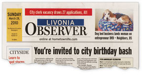 Masthead from March 28, 2010 Livonia  Observer