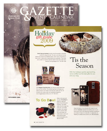 Gift Guide page and front cover of Nov 2009 AKC Gazette